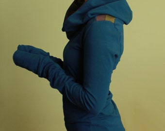 extra long sleeved hooded top/colorblock shoulders/Teal with Olive and Cement