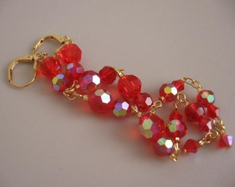Long Chandelier Style Earrings - Red