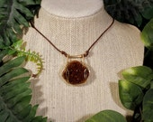 Citrine Geode Acacia Necklace in Gold-Filled
