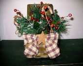 Primitive Christmas Decor-Centerpiece-Square Basket-Greens-Apples-Berries-Rusty Tin Stars-Candy Cane