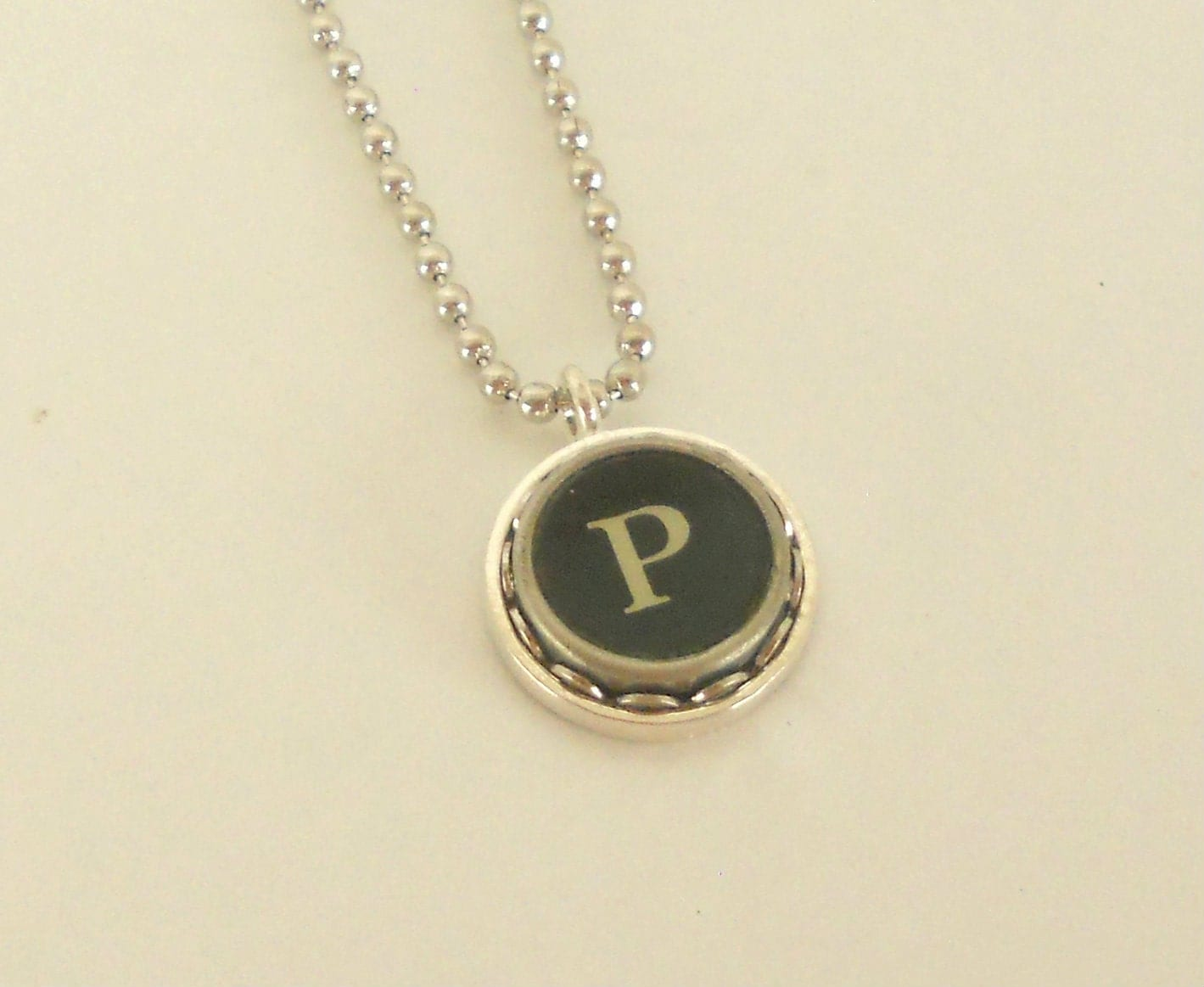 typewriter key necklace letter p vintage by busterandboo