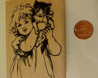 Girl with Kitten Rubber Stamp