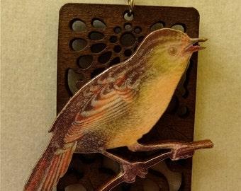 Sparrow Woodcut Necklace SPECIAL