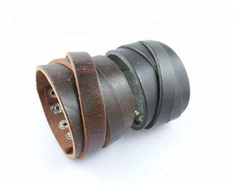 Leather CROSSOVER CUFF Bracelet with Snaps - 1 5/8 inch wide X 9 inch long - use with rectangle bracelet blanks