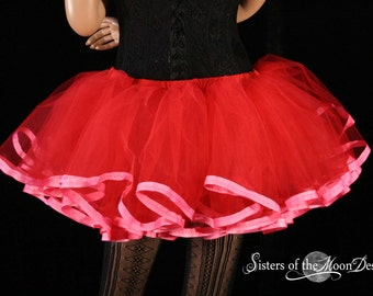 Tutu petticoat skirt adult Red with pink trim Halloween valentines costume carnival race run bridal - You choose Size - Sisters of the Moon