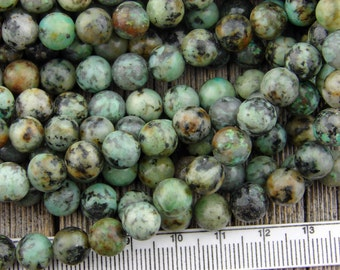 8mm Earthy African Turquoise Jasper beads Smooth Round beads Green Blue Black Matrix 8 mm