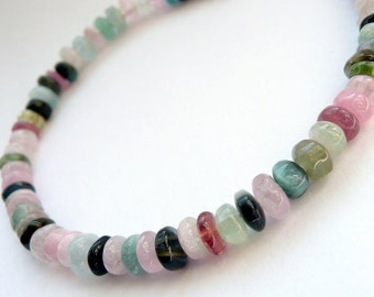 Handcrafted Artisan Tourmaline Sterling Silver OOAK Gemstone Pink Rainbow Watermelon Bohemian Hippie Gypsy Beach Gift for Her Bracelet