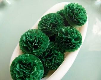 Button Mums Tissue Paper Flowers 1 inch  Emerald Green Mums Wedding, Bridal Shower, Baby Shower Decor