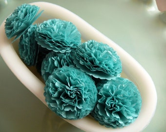Button Mums Tissue Paper Flowers  1 inch Caribbean Teal Green  Wedding, Bridal Shower, Baby Shower Decor