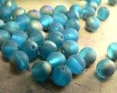 Aqua Vitrail Czech Glass Beads Round Druk Frosted Matte Teal Blue 6mm (30)