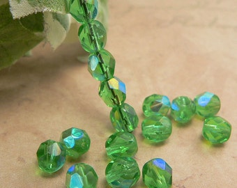 Emerald AB Czech Glass Beads 6mm Round Green Fire Polished (25)