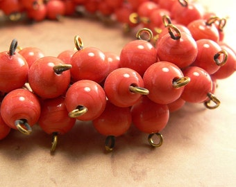 Vintage Orange Coral Glass Beads Round 6-7mm Connector, Japan (25)