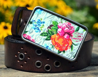 The Libby Belt- Gorgeous Orange & Pink Flower Buckle with Brown Leather Belt