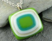 Pea Green, Teal, Ivory & White Glass Pendant. Modern Jewelry. Fused Glass Jewelry. Glass Jewelry. Fused Glass. Earthy Necklace.