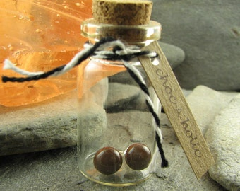 Brown Stud Earrings in Glass Bottle with Cork Top. Choc-a-holic! Handcrafted Glass Jewelry. Makes a great gift.