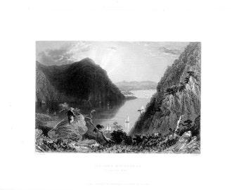 Hudson Highlands Bull Hill ~ American Landscape 1840s William Bartlett Vintage Antique Art Print Engraving [Inv#BartMsc 41
