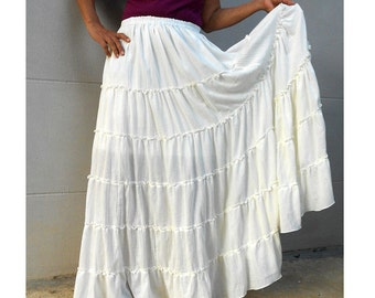 Custom Made  Off White  Cotton Boho Hippie  Long Ruffle Elastic Waist  Skirt  Maxi dress (H)