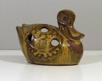 VTG Stoneware Duck Bird Incense Burner 1970s Made in Japan