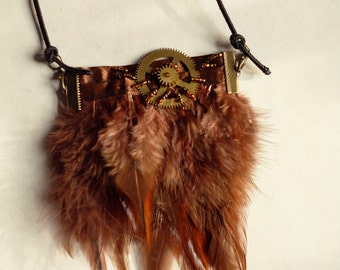 MASQ Steampunk clockwork feather brown bronze and orange beads necklace, native american cosplay, brown feathers necklace
