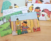 Ernie and Bert - recycled book pages into envelopes