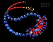 Lapis Lazuli Coral Necklace, Blue Red Tribal Ethnic necklace, Boho Chic Colorful natural stone jewelry, handmade gift PinkOwlJewelry fashion