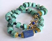 Turquoise Lapis Lazuli Necklace, colorful tribal ethnic primitive rustic, Blue Matte Finish stone solid Brass, mens women bohemian southwest