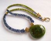 RESERVED Z. Spectacular Vessonite Iolite Necklace Gold Vermeil Faceted Vesuvianite Vassonite Idocrase Pendant Huge Faceted Rare Stone, Green