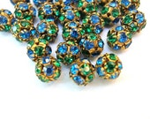 2 Vintage Swarovski beads, blue and green crystals in brass setting creating ball shape 10mm RARE