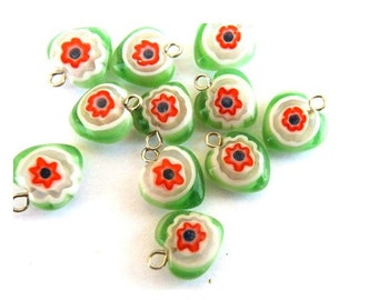 10 Vintage millefiori glass beads heart shape with self loop, can be use as pendant, 12mm