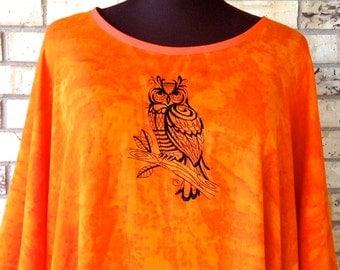 Plus Size Tunic Embroidered Owl Design