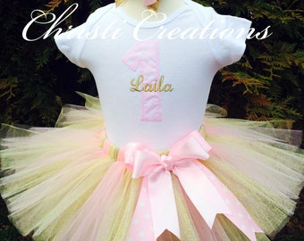 Pink and Gold First Birthday Pink and Gold Tutu Pink and Gold First Birthday Dress Pink and Gold Birthday Outfit 1st Birthday Girl Outfit