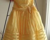 Yellow Betsy Johnson Party Dress Small 1980s 1990s free shipping to USA