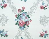 1940s Vintage Wallpaper by the Yard - Floral Wallpaper with Pink and Blue Rose Clusters on White
