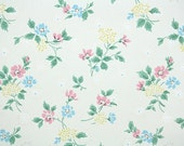 1950s Vintage Wallpaper by the Yard - Floral Wallpaper with Yellow Pink and Blue Flowers on White