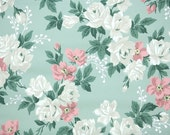 1940s Vintage Wallpaper by the Yard - Floral Wallpaper with Large White Roses and Pink Flowers on Green