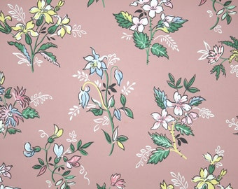 1940's Vintage Wallpaper - Floral Wallpaper with Pink Blue and Yellow Flowers on Mauve