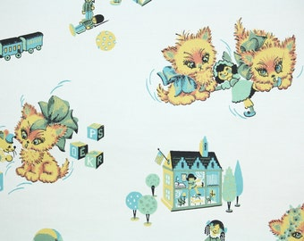 1960's Vintage Wallpaper - Children's Vintage Wallpaper Kittens and Toys