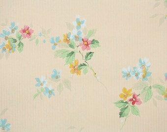 1930's Vintage Wallpaper - Antique Floral Wallpaper with Tiny Pastel Pink Flowers on Golden-Tan