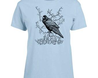 Ladies T-shirt Poe's Raven Art Sizes XS-2X