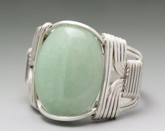 Green Aventurine Cabochon Sterling Silver Wire Wrapped Ring - Made to Order & Ships Fast!