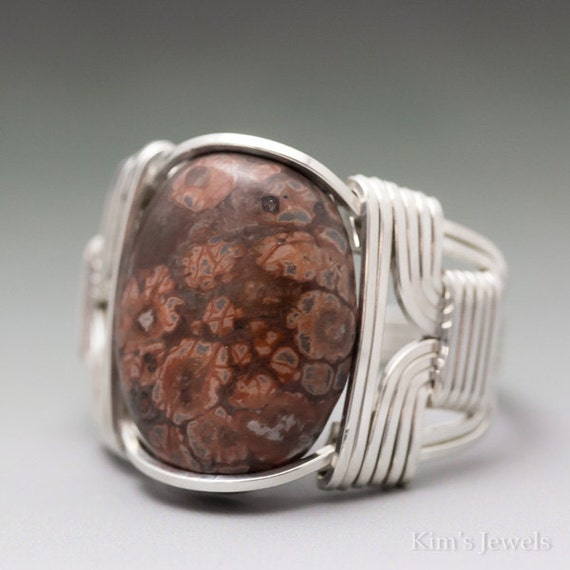 Leopard Skin Jasper Cabochon Sterling Silver Wire Wrapped Ring ANY size
