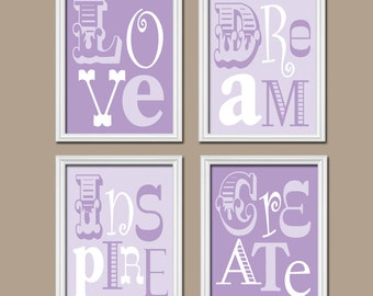 PURPLE Nursery Wall Art, Baby Girl Nursery Artwork, Lilac Bedroom QUOTE Pictures, CANVAS or Print, Love Dream Inspire Create Words, Set of 4