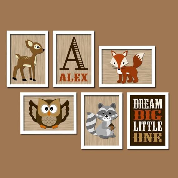 WOODLAND Boy Wall Art, CANVAS or Prints Nursery Child Dream Big Forest Animal Deer Raccoon FOX ...