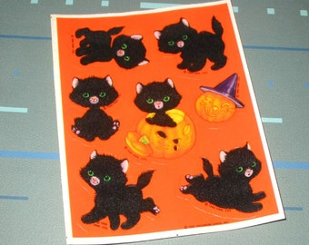 Vintage 80s Halloween Black Cat Fluffy Fuzzy Stickers Full Sheet by Hallmark 1986
