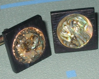 Last Call.....Vintage Modernist Abalone and Ebony Wood Circle in Square Cuff Links Signed Swank