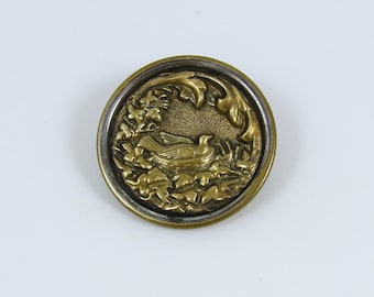 Large Antique Metal Bird on Nest Picture Button