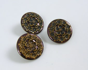 Set of 3 Antique Tinted Metal Flower Buttons