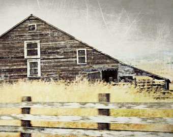 "Barn art old wooden barn photograph rustic farmhouse decor gray brown barn gray wall art ""Days Gone By"""