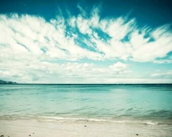 "Beach ocean photography print, dark teal sea shore clouds photography Maui wall art  ""Swept Away"""