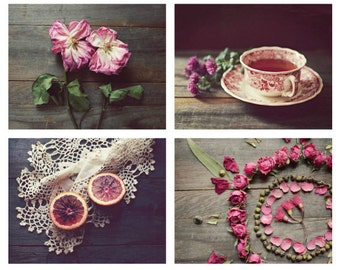 Rustic farmhouse pink and brown kitchen wall art, dark wood still life photography, pink roses fruit teacup still life, photo set